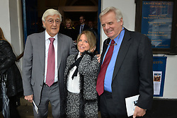 Journalist and television presenter Alan Whicker's memorial service at Grosvenor Chapel, Mayfair, London, UK.<br /> <br /> Pictured are Michael Parkinson, Valerie Kleeman (Alan Whicker's partner) and Michael Grade.<br /> <br /> Wednesday, 28th May 2014. Picture by Ben Stevens / i-Images