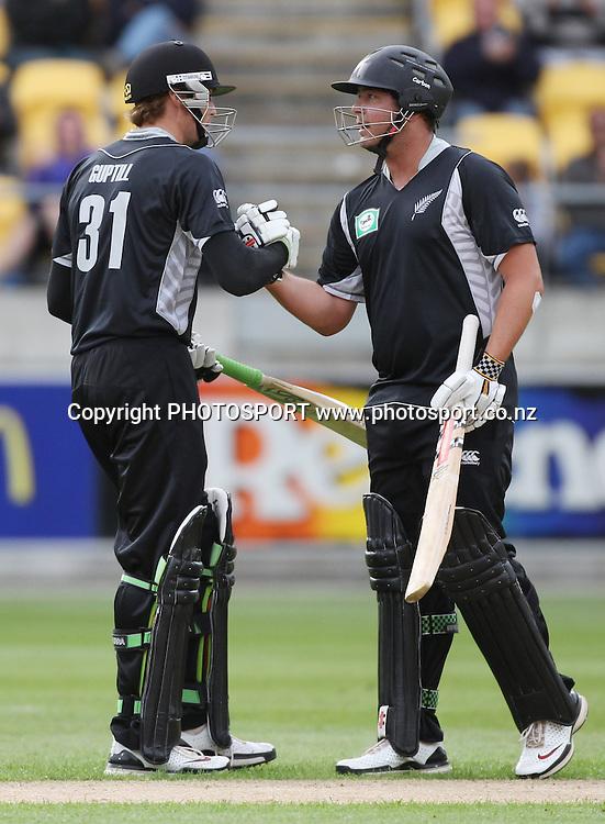 NZ Opening batsmen Jesse Ryder and Martin Guptill. New Zealand Black Caps v Pakistan, ODI Cricket. Match 1, Westpac Stadium, Wellington, New Zealand. Saturday 22 January 2011. Photo: Andrew Cornaga/photosport.co.nz