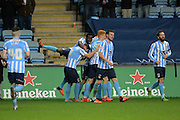 Coventry players celebrate Coventry City defender Aaron Martin opening goal during the Sky Bet League 1 match between Coventry City and Oldham Athletic at the Ricoh Arena, Coventry, England on 19 December 2015. Photo by Alan Franklin.