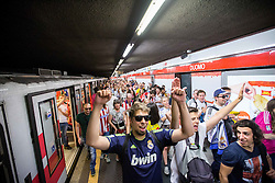 Fans at Metro M1 singing prior to the football match between Real Madrid (ESP) and Atlético Madrid (ESP) in Final of UEFA Champions League, on May 28, 2016 in Doumo, Milan, Italy. Photo by Vid Ponikvar / Sportida
