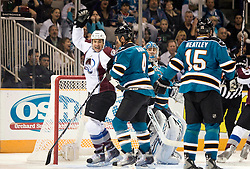 April 16, 2010; San Jose, CA, USA; Colorado Avalanche right wing Brandon Yip (far left) celebrates after right wing Milan Hejduk (not pictured) scored a goal against the San Jose Sharks during the first period of game two in the first round of the 2010 Stanley Cup Playoffs at HP Pavilion.  The Sharks defeated the Avalanche 6-5 in overtime. Mandatory Credit: Jason O. Watson / US PRESSWIRE