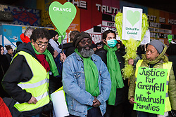 London, UK. 14th April 2019. Members of the Grenfell community and firefighters take part in the Grenfell Silent Walk around North Kensington on the monthly anniversary of the fire on 14th June 2017. 72 people died in the Grenfell Tower fire and over 70 were injured.