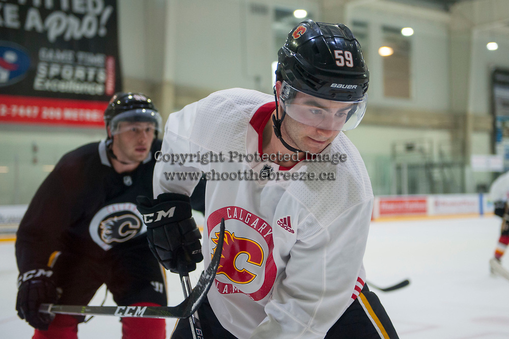 PENTICTON, CANADA - SEPTEMBER 9: Dillon Dube #59 of Calgary Flames stands on the ice during morning skate on September 9, 2017 at the South Okanagan Event Centre in Penticton, British Columbia, Canada.  (Photo by Marissa Baecker/Shoot the Breeze)  *** Local Caption ***