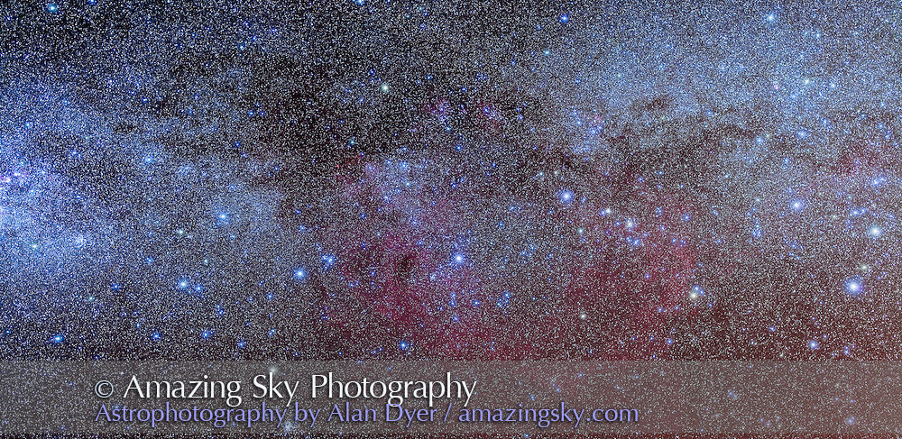The constellations of Puppis and Vela in the southern Milky Way, plus the large Gum Nebula. This is panorama of two images, each a stack of 4 x 6 minute exposures at f/4 with the Sigma 50mm lens and Canon 5D MkII at ISO 800, plus 2 x 6 minutes with Kenko Softon filter for star glows. Taken from Atacama Lodge near San Pedro de Atacama in Chile, May, 2011.