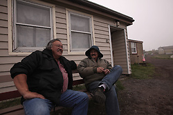 USA ALASKA  ST GEORGE ISLAND 7JUL12 - Greenpeace USA Alaska oceans campaigner George Pletnikof (L) and local council member Victor F. Malavansky share a light moment on the island of St. George in the Bering Sea, Alaska.......Photo by Jiri Rezac / Greenpeace....© Jiri Rezac / Greenpeace