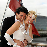 Models Mhairi Cairnduff and Gerard Martin promote the Scottish Wedding Show on board the Glasgow Clipper next to the SECC>