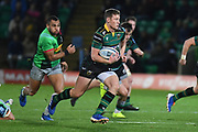 Northampton Saints centre Fraser Dingwall (22) runs the ball during the Gallagher Premiership Rugby match between Northampton Saints and Harlequins at Franklins Gardens, Northampton, United Kingdom on 1 November 2019.