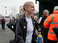 Tamara Taylor as the team arrive, England Women v Italy Women in Women's 6 Nations Match at Twickenham Stoop, Twickenham, England, on 15th February 2015. Final score 39-7.