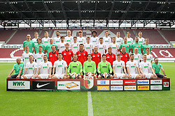 08.07.2015, WWK Arena, Augsburg, GER, 1. FBL, FC Augsburg, Fototermin, im Bild l-r: hinter Reihe, Marco Schuster #29 (FC Augsburg), Alexander Esswein #11 (FC Augsburg), Halil Altintop #7 (FC Augsburg), Ragnar Klavan #5 (FC Augsburg), Jeong-Ho Hong #20 (FC Augsburg), Francisco da Silva Caiuby #30 (FC Augsburg), Christoph Janker #16 (FC Augsburg), Nikola Djurdjic #34 (FC Augsburg), Markus Feulner #8 (FC Augsburg), Dominik Kohr #21 (FC Augsburg), l-r: 2 Reihe von hinten, Arzt Florian Elser (FC Augsburg),Mannschaftsarzt Andreas Weigel (FC Augsburg), Mannschaftsarzt Peter Stiller (FC Augsburg), Jan Moravek #14 (FC Augsburg), Raphael Framberger #32 (FC Augsburg), Paul Verhaegh #2 (FC Augsburg), Arif Ekin #31 (FC Augsburg), Daniel Baier #10 (FC Augsburg), Physiotherapeut James Morgen (FC Augsburg), Physio Marco Grimm (FC Augsburg), Physio Oliver Roesch (FC Augsburg), l-r: 2 Reihe von vorne, Maik Uhde #39 (FC Augsburg), Ronny Philp #3 (FC Augsburg), Videoanalyse Lars Gerling (FC Augsburg), Reha- und Athletik-Trainer Thomas Barth (FC Augsburg), Tortwarttrainer Zdenko Miletic (FC Augsburg), Co-Trainer Tobias Zellner (FC Augsburg), Co-Trainer Wolfgang Beller (FC Augsburg), Chef-Trainer Markus Weinzierl (FC Augsburg), Tobias Werner #13 (FC Augsburg), Bastian Kurz #26 (FC Augsburg), l-r: vorder Reihe, Zeugwart Zdenek Vidrman (FC Augsburg), Tim Rieder #40 (FC Augsburg), Sascha Moelders #33 (FC Augsburg), Dong Won Ji #22 (FC Augsburg), Alexander Manninger #1 (FC Augsburg), Marwin Hitz #35 (FC Augsburg), Yannik Oettl #28 (FC Augsburg), Max Reithaler #36 (FC Augsburg), Tim Matavz #23 (FC Augsburg), Jan-Ingwer Callsen-Bracker #18 (FC Augsburg), Zeugwart Salvatore Belardo (FC Augsburg) // during the official Team and Portrait Photoshoot of German Bundesliga Club FC Augsburg at the WWK Arena in Augsburg, Germany on 2015/07/08. EXPA Pictures © 2015, PhotoCredit: EXPA/ Eibner-Pressefoto/ Kolbert<br /> <br /> *****ATTENTION - OUT of GER*****