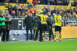15.02.2014, Signal Iduna Park, Dortmund, GER, 1. FBL, Borussia Dortmund vs Eintracht Frankfurt, 21. Runde, im Bild Trainer Juergen Klopp (Borussia Dortmund) umarmt Milos Jojic (Borussia Dortmund #14) nach dessen Tor zum 4:0, Emotion, Freude, Glueck, Positiv, Torjubel // during the German Bundesliga 21th round match between Borussia Dortmund and Eintracht Frankfurt at the Signal Iduna Park in Dortmund, Germany on 2014/02/15. EXPA Pictures © 2014, PhotoCredit: EXPA/ Eibner-Pressefoto/ Schueler<br /> <br /> *****ATTENTION - OUT of GER*****