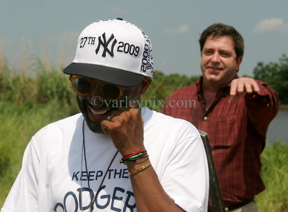 01 June 2010. New Orleans, Louisiana, USA.  <br /> Clifford Troxler with Spike Lee at the Breton Sound Marina in Hopedale for his latest movie,  'If God is Willing and da Creek Don't Rise.'<br /> Photo &copy;; Charlie Varley/varleypix.com.