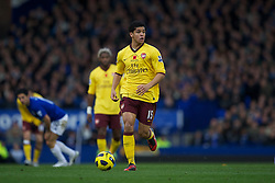 LIVERPOOL, ENGLAND - Sunday, November 14, 2010: Arsenal's Denilson in action against Everton during the Premiership match at Goodison Park. (Photo by: David Rawcliffe/Propaganda)
