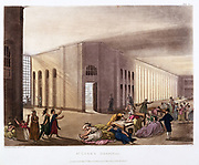 St Luke's Hospital, Old Street, London. Lunatic asylum. Female patients in their day gallery. Each patient had own room. Architect, George Dance jnr (1741-1825). From 'The Microcosm of London', Ackermann, London, 1808-1811. Illustrated Pugin and Rowlandson.