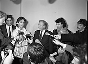 Taoiseach Meets With Guildford Four.   T9..1989..03.11.1989..11.03.1989..3rd November 1989..An Taoiseach, Charles Haughey TD,met  with Paul Hill and Gerard Conlon,two of the Guildford Four. The Guildford Four had been wrongly convicted of a pub bombing and were subsequently released on appeal after 14 years. They had not been compensated for their time in prison and were meeting with the Taoiseach to highlight the injustices they had suffered...Image shows Paul Hill making a statement about his time in prison after being wrongfully convicted of a pub bombing. An Taoiseach, Charles Haughey and Gerry Conlon pay rapt attention.