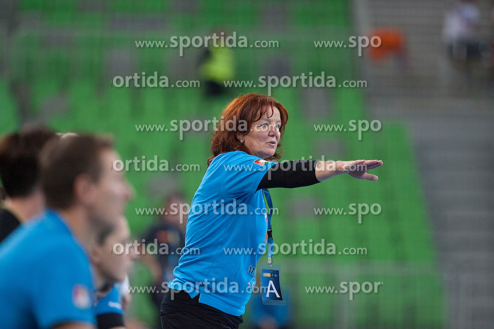 Marta Bon, head coach of RK Krim Mercator during handball match between RK Krim Mercator (SLO) and HCM Baia Mare (ROM) in 1st Round of Women's EHF Champions League 2015/16, on October 16, 2015 in Arena Stozice, Ljubljana, Slovenia. Photo by Urban Urbanc / Sportida