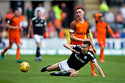 Dundee forward Faissal El Bakhtaoui (#20) is fouled by Dundee United forward Scott McDonald (#8) during the Betfred Scottish Cup group stage match between Dundee and Dundee United at Dens Park, Dundee, Scotland on 29 July 2017. Photo by Craig Doyle.
