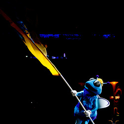Mar 08, 2010; New Orleans, LA, USA; New Orleans Hornets mascot Hugo waves a flag prior to tip off of a game against the Golden State Warriors during the first half at the New Orleans Arena. Mandatory Credit: Derick E. Hingle-US PRESSWIRE