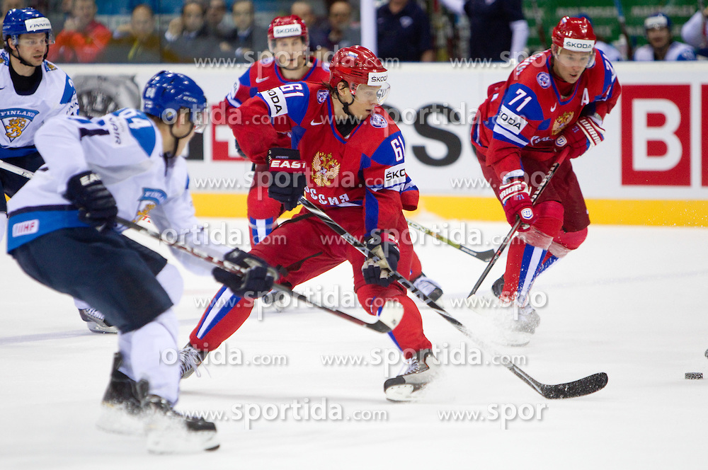 Maxim Afinogenov of Russia and Ilya Kovalchuk of Russia during ice-hockey match between Russia and Finland of Group E in Qualifying Round of IIHF 2011 World Championship Slovakia, on May 9, 2011 in Orange Arena, Bratislava, Slovakia. Finland defeated Russia after overtime and shootout 3-2. (Photo By Vid Ponikvar / Sportida.com)