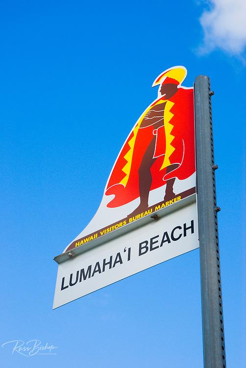 Hawaii Visitors Bureau marker at Lumaiha'i Beach, Island of Kauai, Hawaii