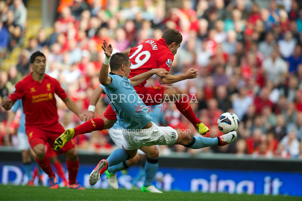 LIVERPOOL, ENGLAND - Sunday, August 26, 2012: Liverpool's Fabio Borini in action against Manchester City during the Premiership match at Anfield. (Pic by David Rawcliffe/Propaganda)