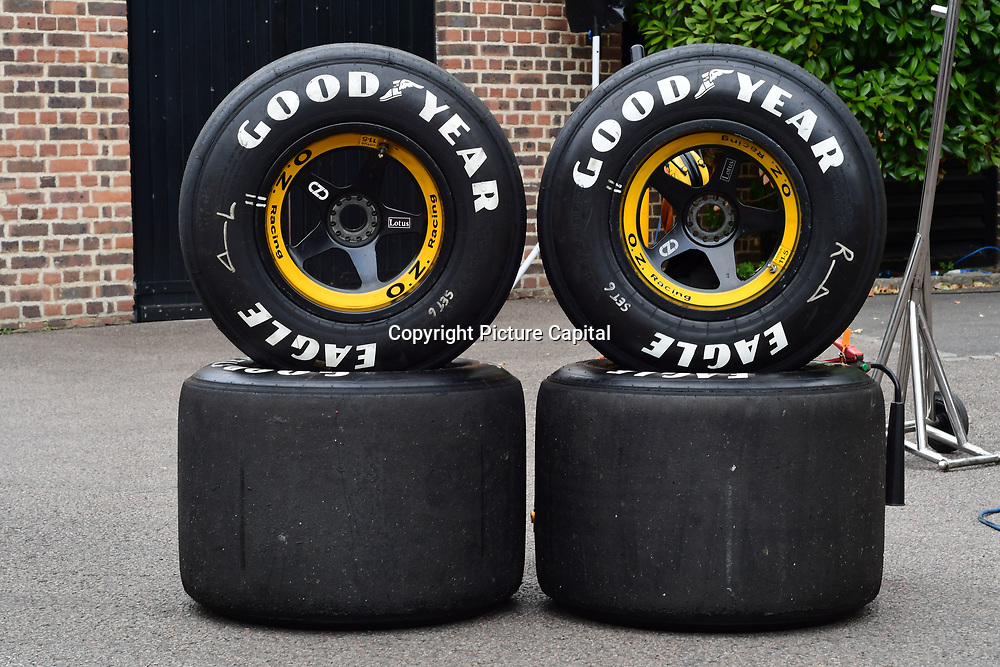 Goodyears tires display at the 2018 Grand Prix Ball held at The Hurlingham Club on July 4, 2018 in London, England.