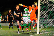 Yeovil Town's Francois Zoko cannot turn the ball into the Carlisle net during the The FA Cup Third Round Replay match between Yeovil Town and Carlisle United at Huish Park, Yeovil, England on 19 January 2016. Photo by Graham Hunt.
