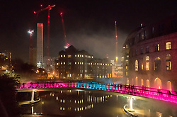 "© Licensed to London News Pictures. 27/02/2020. Bristol, UK. Bristol Light Festival; the artwork ""Pink Enchantment"" at Castle Bridge, an interactive installation with light and fog activated by people walking on the bridge, from international light artist Tine Bech. This is the launch of the first ever Bristol Light Festival, hosted by Bristol City Centre BID. Internationally renowned artists and local talent lighting up the city with a series of installations this weekend. Photo credit: Simon Chapman/LNP."