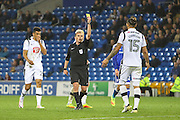 Bradley Johnson of Derby County receives a yellow card, late in the game during the EFL Sky Bet Championship match between Cardiff City and Derby County at the Cardiff City Stadium, Cardiff, Wales on 27 September 2016. Photo by Andrew Lewis.