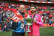 Forest Green Rovers goalkeeper coach Steve Hale and Forest Green Rovers goalkeeper Sam Russell(23) during the Vanarama National League Play Off Final match between Tranmere Rovers and Forest Green Rovers at Wembley Stadium, London, England on 14 May 2017. Photo by Shane Healey.