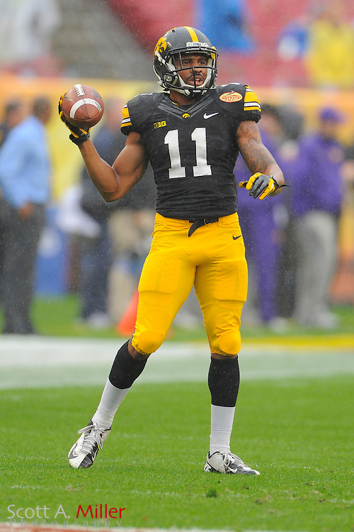 Iowa Hawkeyes wide receiver Kevonte Martin-Manley (11) prior to the 2014 Outback Bowl at Raymond James Stadium on Jan. 1, 2014 in Tampa, Florida. <br /> <br /> &copy;2014 Scott A. Miller