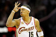 """Apr 19, 2010; Cleveland, OH, USA; Cleveland Cavaliers forward Jamario Moon (15) flashes the """"gooseneck"""" after hitting a three-point-shot during the fourth period against the Chicago Bulls in game two in the first round of the 2010 NBA playoffs at Quicken Loans Arena. The Cavaliers beat the Bulls 112-102. Mandatory Credit: Jason Miller-US PRESSWIRE"""