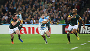 Argentina's Tomas Cubelli spotted a hole and took the opportunity during the Rugby World Cup Bronze Final match between South Africa and Argentina at the Queen Elizabeth II Olympic Park, London, United Kingdom on 30 October 2015. Photo by Matthew Redman.