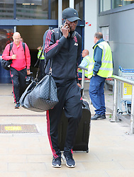 Eric Bailly is spotted at the Manchester Airport, UK as the Manchester United Football Club return from their USA Pre-Season tour on July 1, 2018.