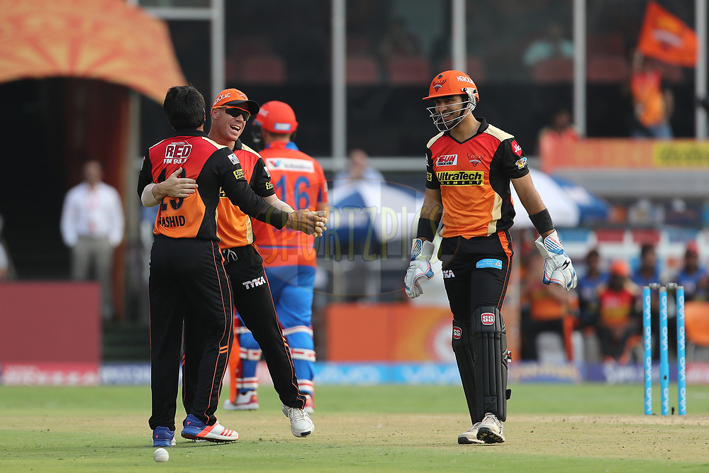 Rashid Khan Arman of the Sunrisers Hyderabad celebrates the wicket of Aaron Finch of the Gujarat Lions during match 6 of the Vivo 2017 Indian Premier League between the Sunrisers Hyderabad and the Gujarat Lions held at the Rajiv Gandhi International Cricket Stadium in Hyderabad, India on the 9th April 2017<br /> <br /> Photo by Ron Gaunt - IPL - Sportzpics