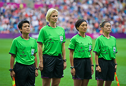 COVENTRY, ENGLAND - Friday, August 3, 2012: Referee Sachiko Yamagishi with her assistants Widiya Shamsuri (L), Saori Takahashi (R) and fourth official Bibiana Steinhaus during the Women's Football Quarter-Final match between Great Britain and Canada, on Day 7 of the London 2012 Olympic Games at the Rioch Arena. Canada won 2-0. (Photo by David Rawcliffe/Propaganda)