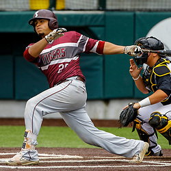 Texas Southern infielder Christian Sanchez (20) hits a double against the Alabama State during the top of the fourth inning of the SWAC baseball championship final in New Orleans, La. Sunday, May 21, 2017.
