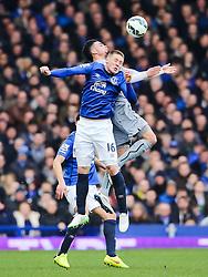 Everton's James McCarthy wins a header - Photo mandatory by-line: Matt McNulty/JMP - Mobile: 07966 386802 - 15/03/2015 - SPORT - Football - Liverpool - Goodison Park - Everton v Newcastle United - Barclays Premier League