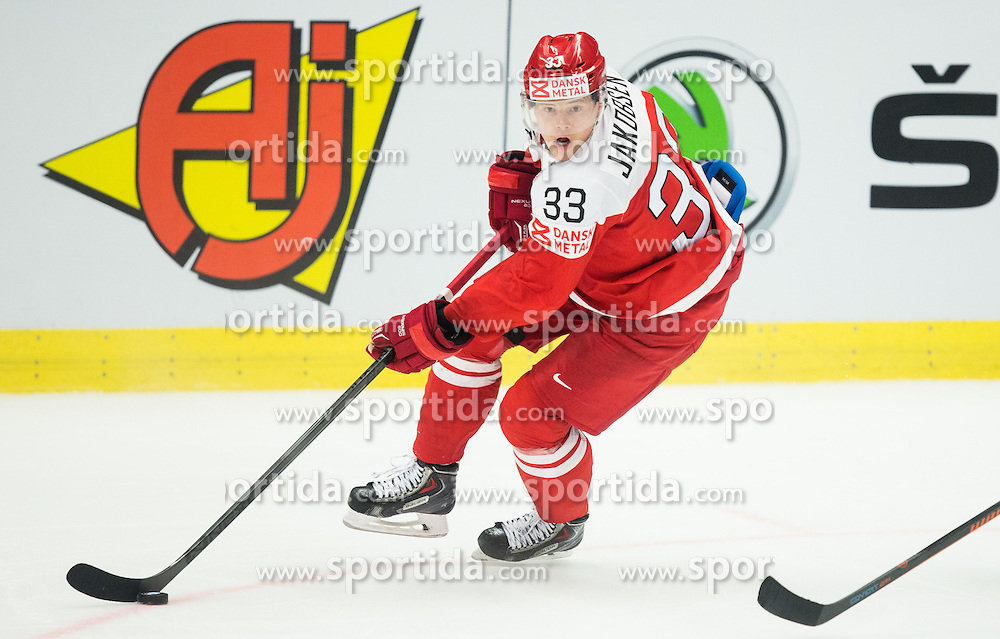 Julian Jakobsen of Denmark during Ice Hockey match between Russia and Denmark at Day 6 in Group B of 2015 IIHF World Championship, on May 6, 2015 in CEZ Arena, Ostrava, Czech Republic. Photo by Vid Ponikvar / Sportida