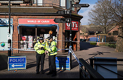 © Licensed to London News Pictures. 07/03/2018. Salisbury, UK. Police maintain a cordon around The Maltings shopping area where former Russian spy Sergei Skripal and his daughter visited before becoming ill with suspected poisoning. The couple where found unconscious on bench in Salisbury shopping centre. Specialist units have been called in to deal with any possible contamination. Photo credit: Peter Macdiarmid/LNP