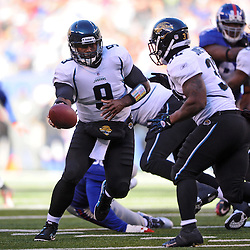 Quarterback David Garrard #9 of the Jacksonville Jaguars hands off the ball during NFL football action between the New York Giants and Jacksonville Jaguars on Nov. 28, 2010 at MetLife Stadium in East Rutherford, N.J.