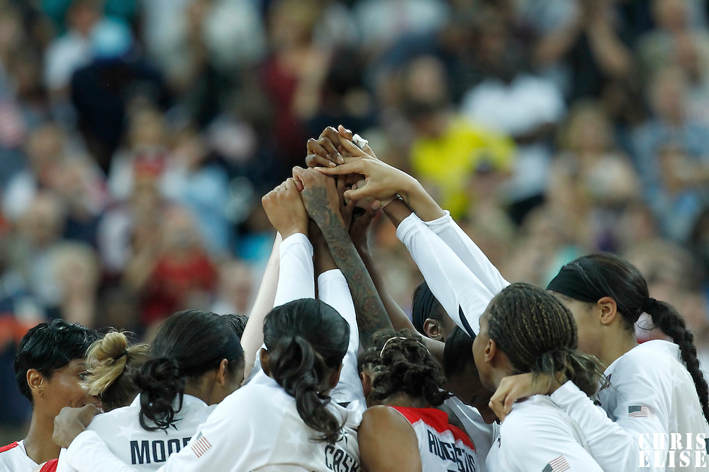 11 August 2012: Team USA gathers after the 86-50 Team USA victory over Team France, during the Women's Gold Medal Game, at the North Greenwich Arena, in London, Great Britain.