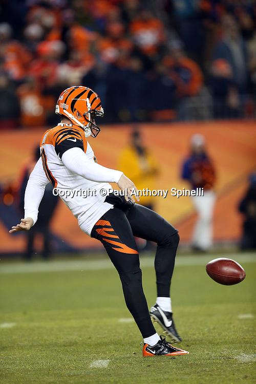 Cincinnati Bengals punter Kevin Huber (10) punts during the 2015 NFL week 16 regular season football game against the Denver Broncos on Monday, Dec. 28, 2015 in Denver. The Broncos won the game in overtime 20-17. (©Paul Anthony Spinelli)