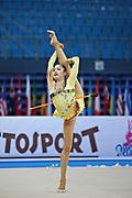 Minagawa Kaho of Japan competes during Individual qualification of clubs in the World Cup at Adriatic Arena on April 27, 2013 in Pesaro, Italy. Kaho was born on August 20,1997 in Chiba Prefecture, Japan.