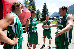 Miha Zupan, Goran Jagodnik, Zoran Dragic and Matjaz Smodis  during filming of video for Eurobasket Lithuania 2011 of Slovenian National Basketball team during training camp in Kranjska Gora, on July 12, 2011, in Kranjska Gora, Slovenia. (Photo by Vid Ponikvar / Sportida)