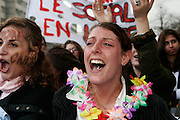 March 28th, 2006. Paris, France..For the first time in two months, worker unions join students to protest against the government's controversial youth employment laws, known as CPE.  About a million people are estimated to have demonstrated across France. Because of the frightening acts of violence that happenned during the March 23rd protest, 4000 cops were around the  demonstration in Paris.