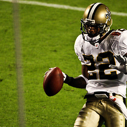 2010 February 07: New Orleans Saints cornerback Tracy Porter (22) runs back an interception for a touchdown during a 31-17 win by the New Orleans Saints over the Indianapolis Colts in Super Bowl XLIV at Sun Life Stadium in Miami, Florida.