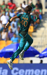 September 26, 2018 - Abu Dhabi, United Arab Emirates - Pakistan cricketer Shaheen sha Afridi celebrates after taking a wicket  during the Asia Cup 2018 cricket match  between Bangladesh and Pakistan at the Sheikh Zayed Stadium,Abu Dhabi, United Arab Emirates on September 26, 2018  (Credit Image: © Tharaka Basnayaka/NurPhoto/ZUMA Press)