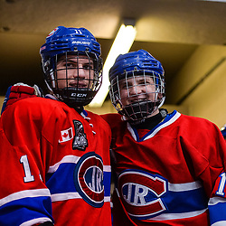 OAKVILLE, ON  - FEB 23,  2018: Ontario Junior Hockey League game between the Oakville Blades and the Toronto Jr. Canadiens, Artur Terchiyev #17 of the Toronto Jr. Canadiens and Matthew Di Cesare #11 of the Toronto Jr. Canadiens poses for a photo ahead of the third period.<br /> (Photo by Ryan McCullough / OJHL Images)