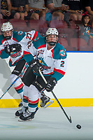 KELOWNA, CANADA - SEPTEMBER 2: Defenseman Cayde Augustine #2 of the Kelowna Rockets skates with the puck against the Victoria Royals on September 2, 2017 at Prospera Place in Kelowna, British Columbia, Canada.  (Photo by Marissa Baecker/Shoot the Breeze)  *** Local Caption ***