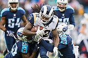 NASHVILLE, TN - DECEMBER 24:  Sammy Watkins #12 of the Los Angeles Rams is tackled by Kevin Byard #31 and Tye Smith #33 of the Tennessee Titans at Nissan Stadium on December 24, 2017 in Nashville, Tennessee.  The Rams defeated the Titans 27-23.  (Photo by Wesley Hitt/Getty Images) *** Local Caption *** Sammy Watkins; Kevin Byard; Tye Smith